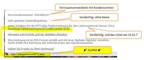 Phishing mail kommmentiert
